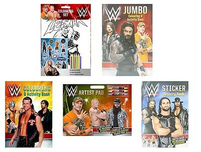 WWE WRESTLING Colouring Sticker Activity Books - Lesner Roman Sting Brock Cena