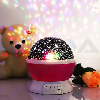 LED Star Master Projector Baby Nursery Children Room Night Lighting Lamp Pink