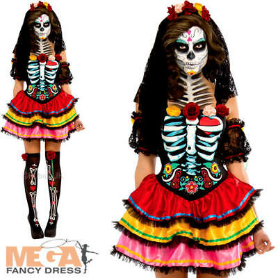 Day of the Dead Senorita Ladies Fancy Dress Halloween Skeleton Womens Costume