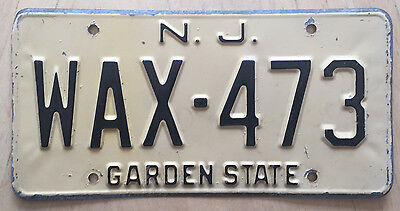 """1972 New Jersey  Auto License Plate """" Wax 473 """" Nj Black On Straw  3 Letter Word"""