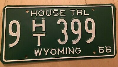 "Wyoming 1966 House Trailer License Plate "" 9 Ht 399  ""  Low No. Wy Wyo 66  Mint!"