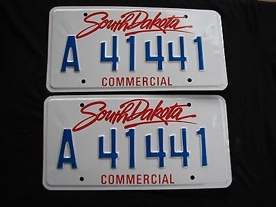 """SOUTH DAKOTA COMMERCIAL LICENSE PLATE PLATES MATCHING PAIR """"A 41441 """" COOL # 4's"""