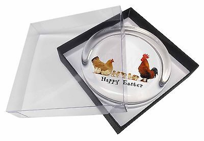 Hen, Chicks, Happy Easter Glass Paperweight in Gift Box Christmas Pr, AB-107EAPW