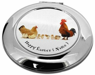 Personalised Hen, Cockerel+Chicks Make-Up Round Compact Mirror Chr, AB-107PEACMR