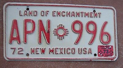 """New Mexico 1973  License Plate """" Apn 996 """" Nm 73 Land Of Enchantment"""