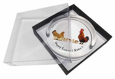 Personalised Hen, Cockerel+Chicks Glass Paperweight in Gift Box Chr, AB-107PEAPW