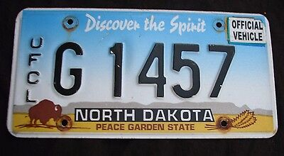 """North Dakota Buffalo Graphic Official License Plate """" G 1457 """"  Nd Ofcl Vehicle"""
