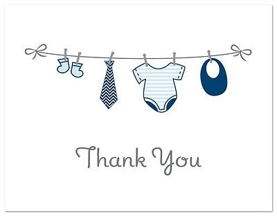 OpenBox 50 Cnt Hanging Baby Boy Cloth Baby Thank You Cards