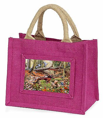 Woodland Forest Wildlife Animals Little Girls Small Pink Shopping Bag , AB-50BMP