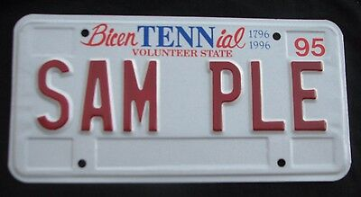 "Tennessee  1995  Sample   00000  License Plate "" Sam Ple ""  No Capitol Building"