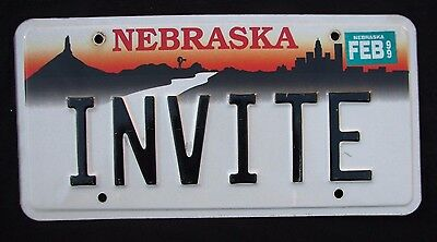 "Nebraska  Vanity License Plate "" Invite "" Invitation Welcome"