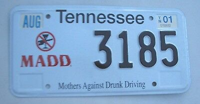 "TENNESSEE License Plate  ""3185""  MADD MOTHERS AGAINST DRUNK DRIVERS  ANTI-DWI"