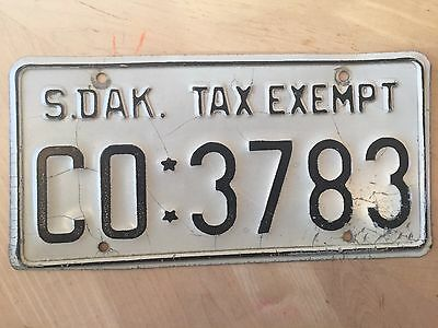 """South Dakota  County Sheriff Tax Exempt  License Plate  """" Co 3783 """" Sd"""