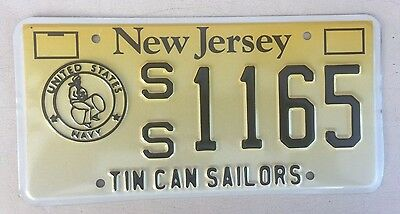 "Rare!  New Jersey Error License Plate "" Ss 1165 "" Tin Can Sailors Should Be Dd"