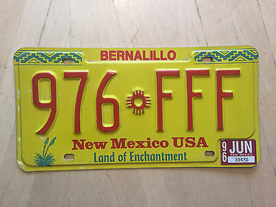 """New Mexico Trippple Repeating Letter  F  Auto License Plate """" 976 Fff """" Nm"""