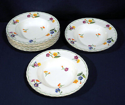 "Vintage Grindley China The Primula 8 Rimmed Soup Bowls 8"" Excellent Condition"