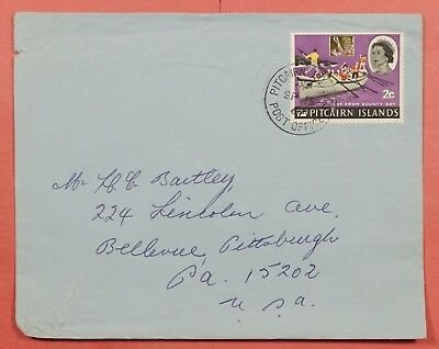 Pitcairn 1967 Single Franked Cover To Usa
