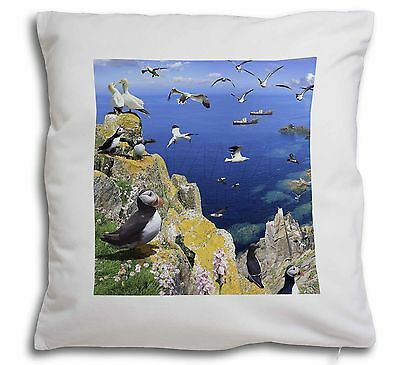 Puffins and Sea Bird Montage Soft Velvet Feel Cushion Cover With Inne, AB-93-CPW