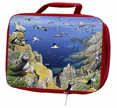Puffins and Sea Bird Montage Insulated Red School Lunch Box/Picnic Bag, AB-93LBR