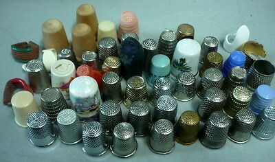 Lot Of 58 Sewing Timbles, 2 Germany, England, Spain, Flowers, Nice Grouping