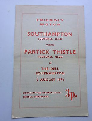 SOUTHAMPTON v  PARTICK THISTLE  FRIENDLY MATCH 1972  THE DELL