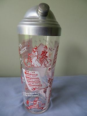 Vintage Barware Bartender Cocktail Shaker Mixing Glass With Recipes