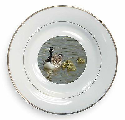 Canadian Geese and Goslings Gold Rim Plate in Gift Box Christmas Presen, AB-G1PL