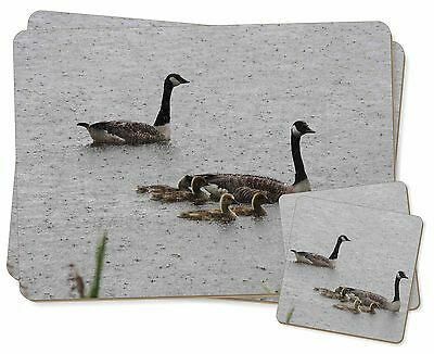 Geese+Goslings in Heavy Rain Twin 2x Placemats+2x Coasters Set in Gift , AB-G5PC