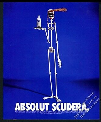 1996 Absolut Scudera Simon Scudera sculpture with vodka bottle photo print ad