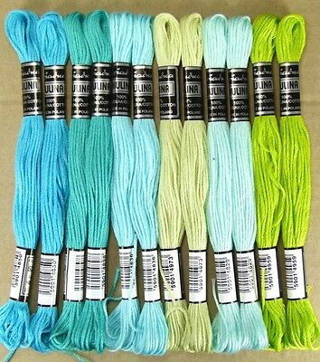 Sticktwist+Embroidery thread @12x TURQUOISE+GREEN@ embroider -13