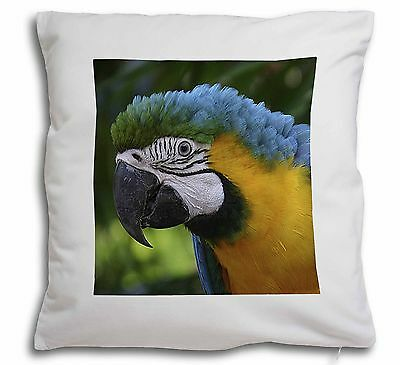 AB-PA10-CSB Blue+Gold Macaw Parrot Black Border Satin Feel Cushion Cover With P