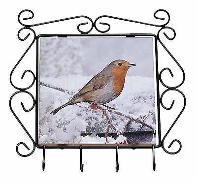 Winter Robin on Snow Branch Wrought Iron Key Holder Hooks Christmas Gi, AB-R22KH