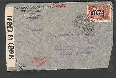 Uruguay WWII censor DB/700 cover Montevideo to Barclay & Co Walkerville Canada