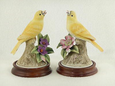Andrea by Sadek YELLOW CANARY BIRD FIGURINES w/ Wood Base - Pair