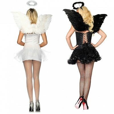 Feather Angel Wings Costume Accessory with Halo Adult Teen Halloween Fancy Dress