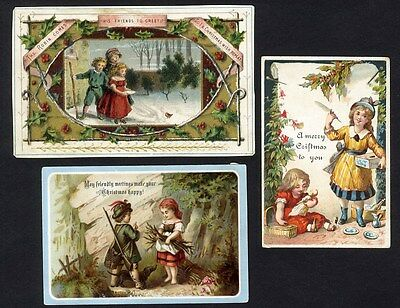 3 VICTORIAN CHRISTMAS Greeting Cards 1880's Cute Children in Snow Woods Toys