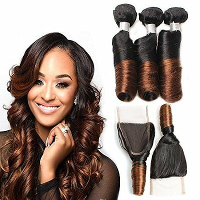 Hair Bundles with Closure Hypoallergenic Brazilian 2 Tone Ombre 14 16 18 +14