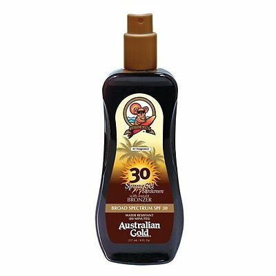 Spray Gel Sunscreen SPF 30 with Instant Bronzer Natural Skin Conditioning 8 oz