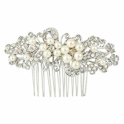 Best Hair Accessory - Leaf Decorative Silver-tone Simulated Pearl Hair Comb
