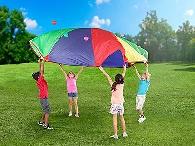 Parachute Play Kids Canopy Wind Tent for Home & Backyards w/ Nylon Bag 12ft
