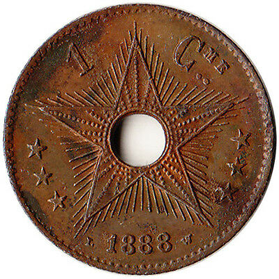 1888 Congo (Belgian) 1 Centime Coin KM#1 Rare Low Mintage