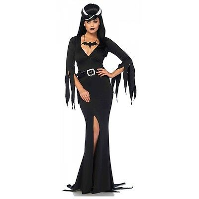 Vampire Costume Adult Morticia Addams Halloween Fancy Dress