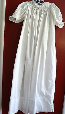 Antique Christening Gown White Ruffle Neck Puffy Sleeves Lace Long Pristine