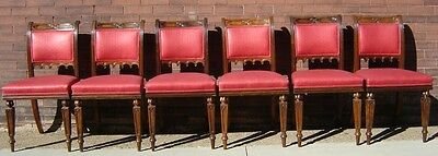 English Gothic Rosewood Dining Chairs Set 6 19Th Century Ex. Cond. Reupholstered