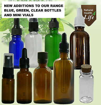 Amber glass bottles also clear, blue, green with inserts, pipettes or atomisers