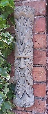 Stone Garden Tall Thin Green Man Tree Face Leaf Wall Plaque Log Ornament