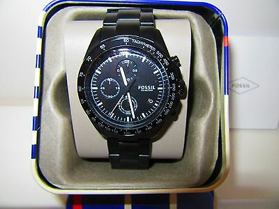 Fossil Sport 54 Chronograph Black Stainless Steel Watch CH 3028 NWT