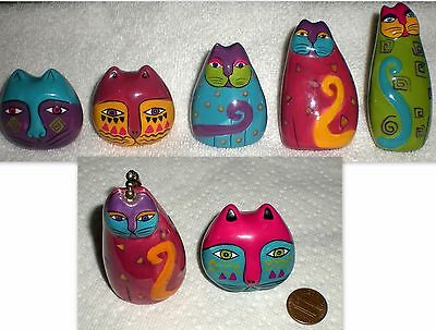 LOT of  7 LAUREL BURCH CERAMIC CAT DRAWER KNOBS / PULLS / HANDLES