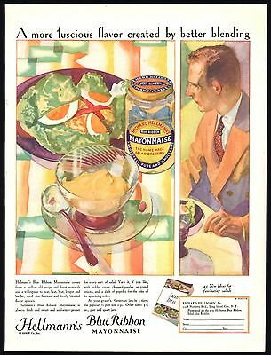 1928 Richard HELLMANN'S Blue Ribbon MAYONNAISE Vintage Food AD Kitchen Decor