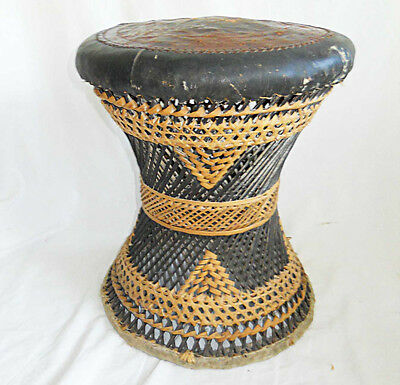 Vintage Stool Leather Top Scenic Design Rattan Woven Wicker Chairs Seats Brown
